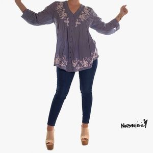 Johnny Was Embroided Tunic Button Blouse